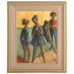"""Painting, Midcentury, Signed Gunter, circa 1969, Green and Blue Color, """"Dancers"""""""