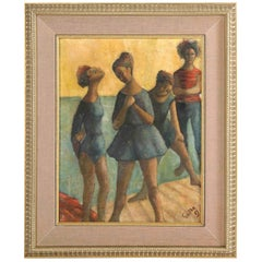 "Painting, Midcentury, Signed Gunter, ""Dancers"", circa 1950, Green and Blue"