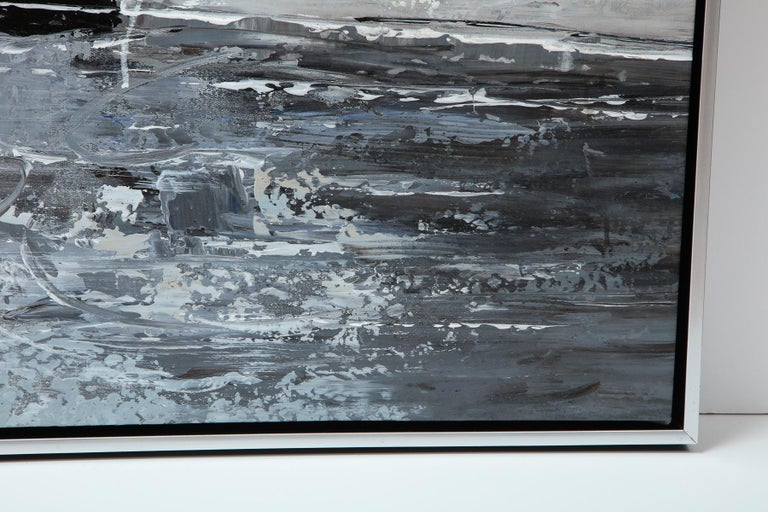 Painting, Modern, Grey, Black and White, Abstract Design In New Condition For Sale In New York, NY