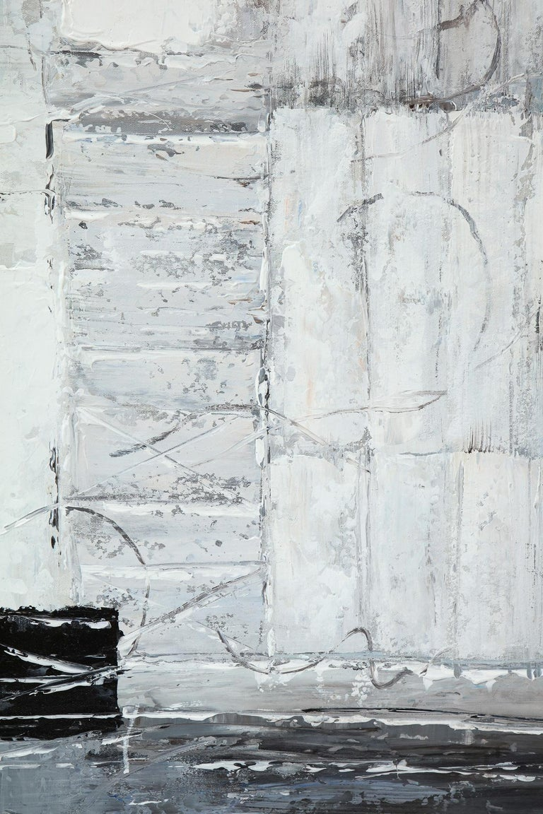 Contemporary Painting, Modern, Grey, Black and White, Abstract Design For Sale