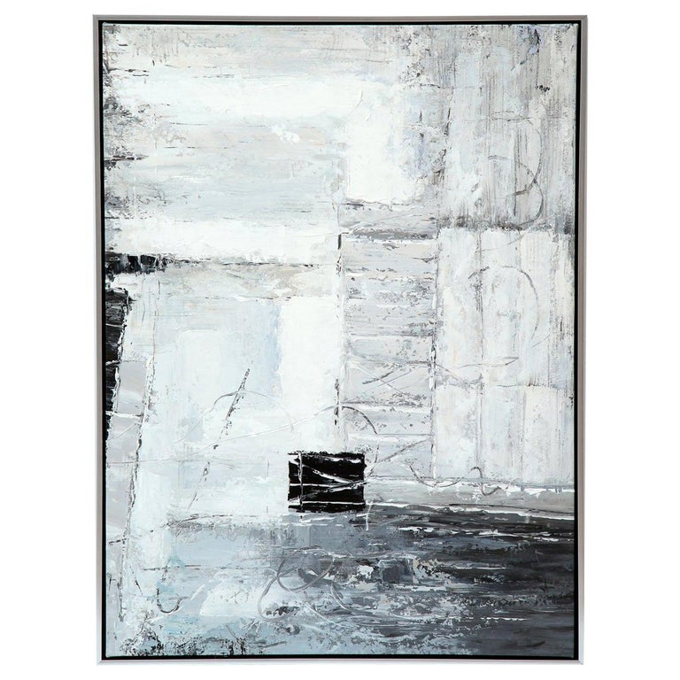 Painting, Modern, Grey, Black and White, Abstract Design For Sale