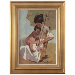 Painting Mother and Child under an Umbrella Painter: Francisco Tuorres-Matas