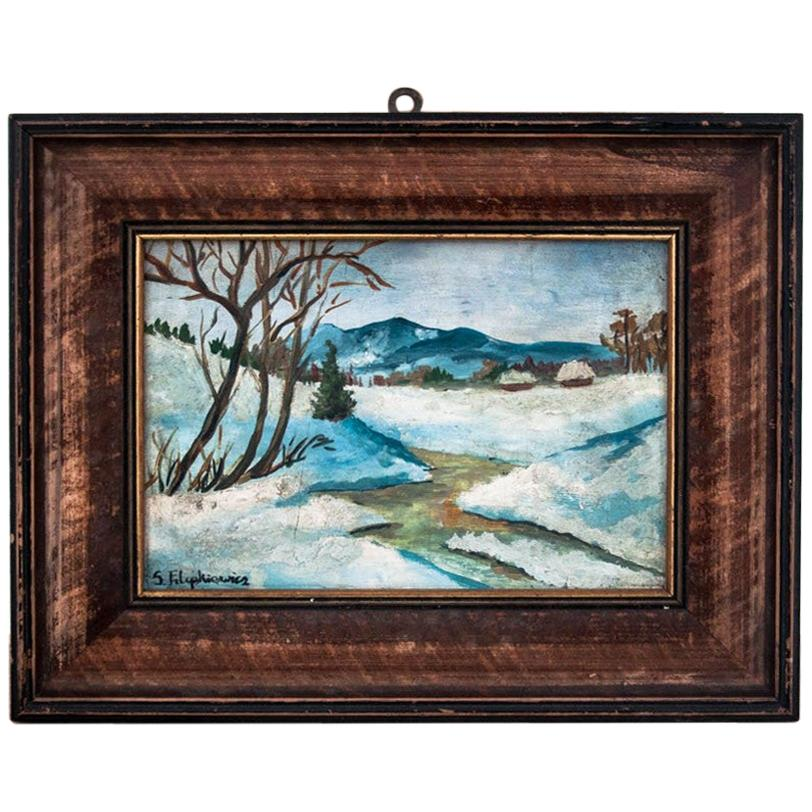 """Painting """"Mountain landscape in winter"""""""