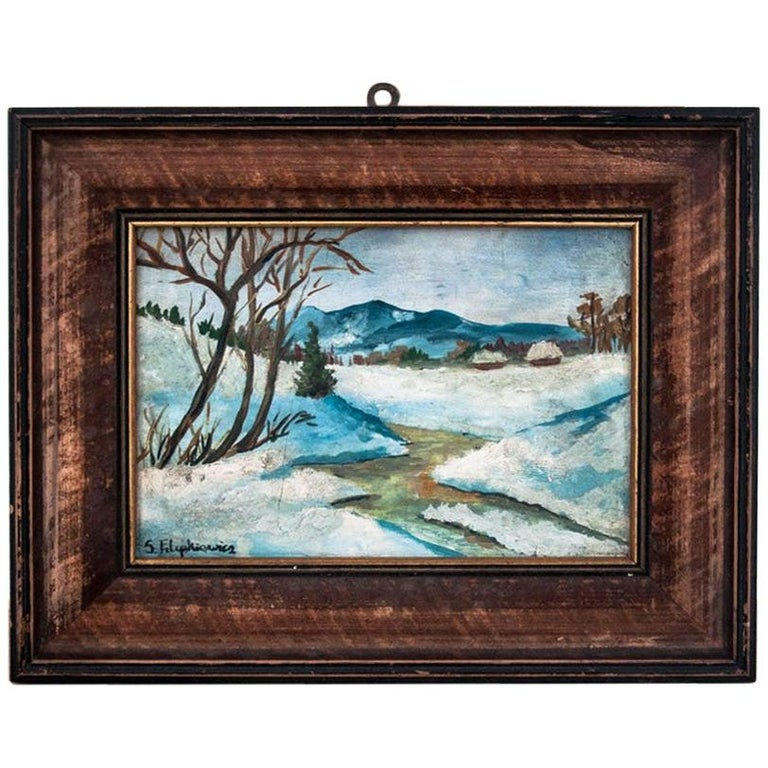 """Painting """"Mountain landscape in winter"""" For Sale"""