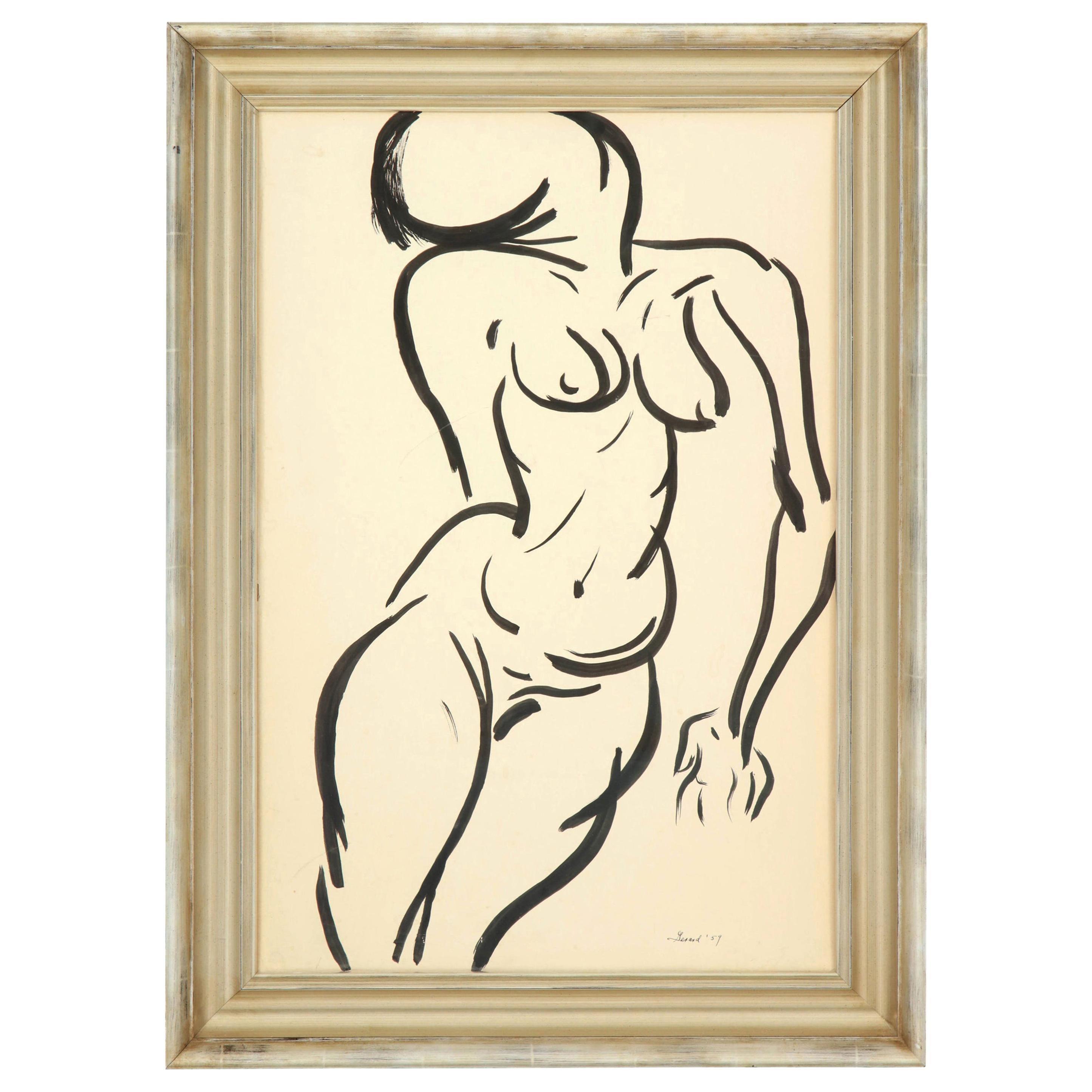 Painting, Nude, Mid-Century, Black and White, Modern Art, circa 1959