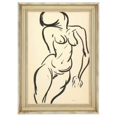 Painting, Nude, circa 1959, Black and White, Modern Art