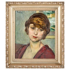 Painting of a Lady, Signed, circa 1950, Green, Red and Taupe Colors