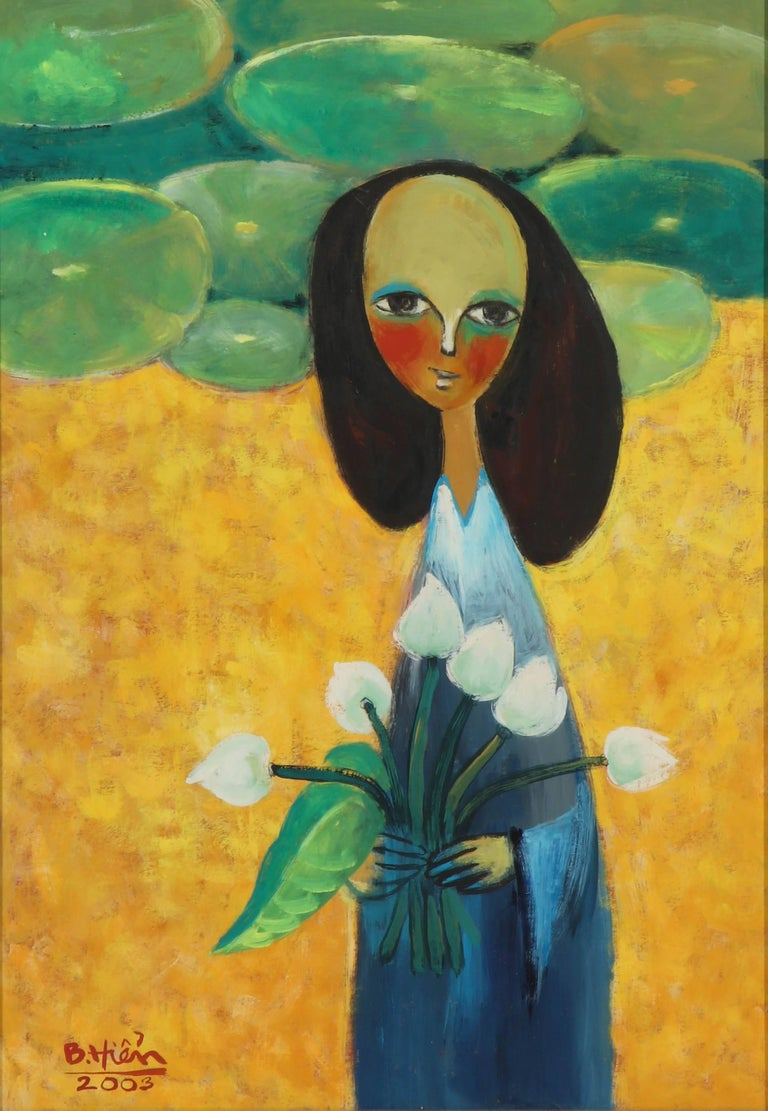 Lady with water lilies. Contemporary painting from Viet Nam, 2003. Singed painting by Bitten.