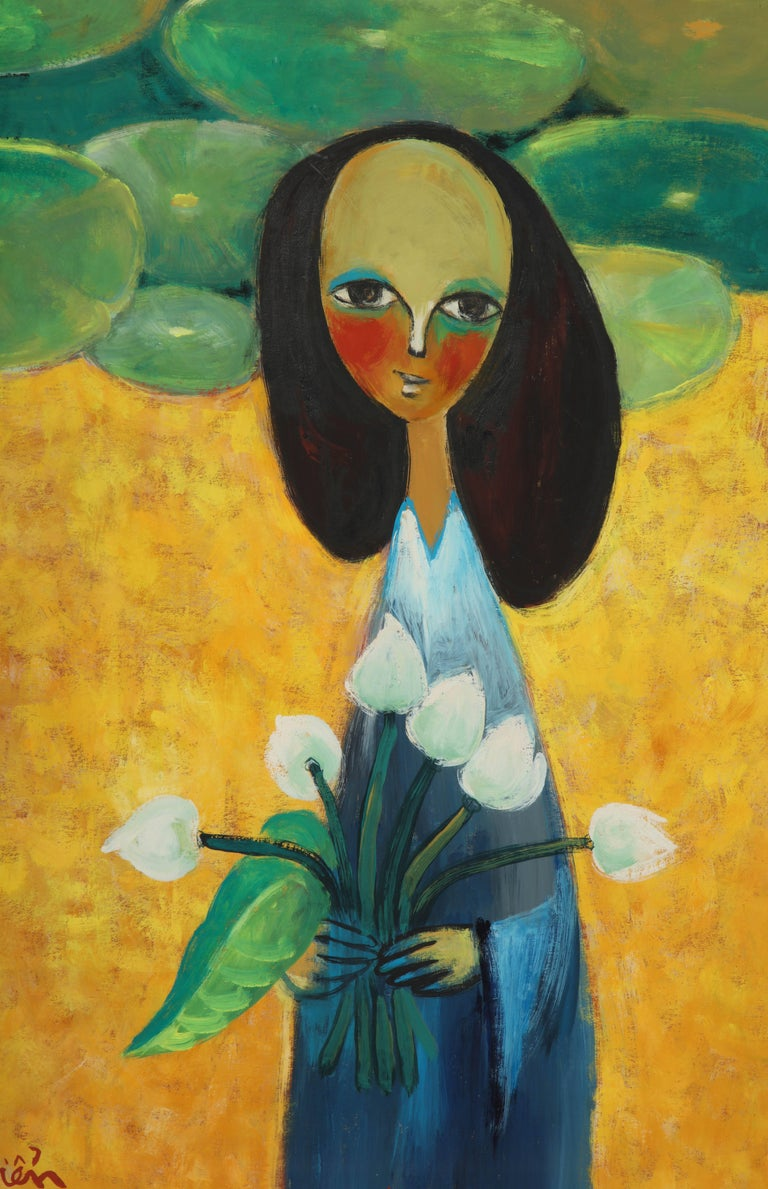 Modern Painting of a Lady with Flowers For Sale