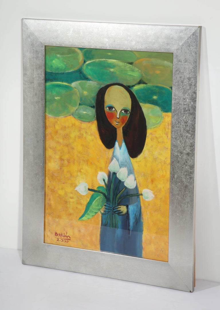 Hand-Painted Painting of a Lady with Flowers For Sale