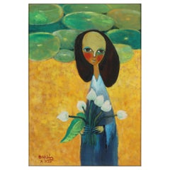Painting of a Lady with Flowers, Green, Yellow and Blue