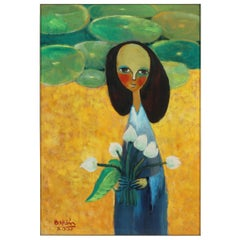 Painting of a Lady with Flowers, Green, Yellow and Blue, Hanoi Artist