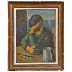 Painting of a Man Sitting by the Seaside in Almeria w/ Sardine & Mug, Spain 1946