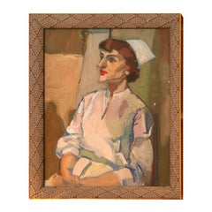 Painting of a Nurse, circa 1950, Oil, White, Cream and Green