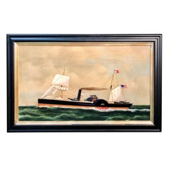 Painting of a Side-Wheeler Boat with an American Flag