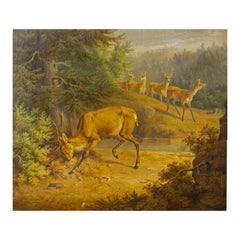 Painting of a Stag 19th Century American School