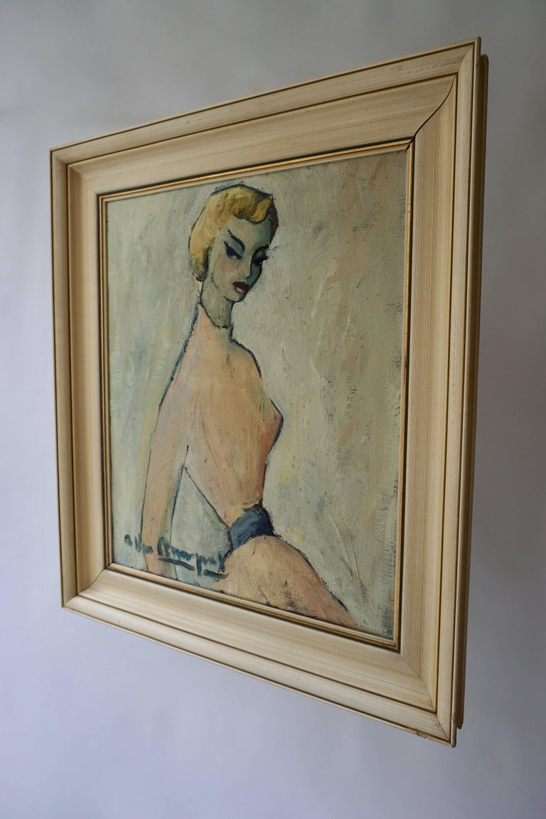 Painting of a woman by A Van Leemput. Belgium. Height painting without frame 57 cm - width 48 cm.