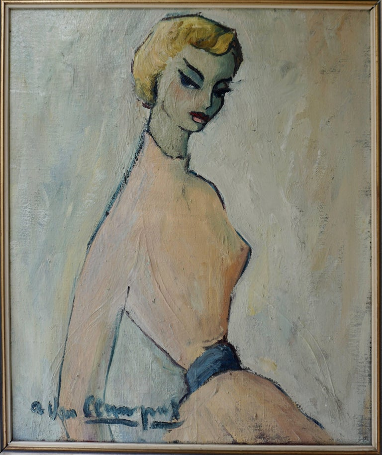 Mid-Century Modern Painting of a Woman by a Van Leemput For Sale
