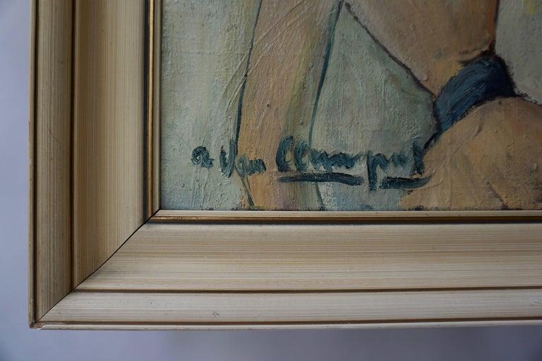 Belgian Painting of a Woman by a Van Leemput For Sale