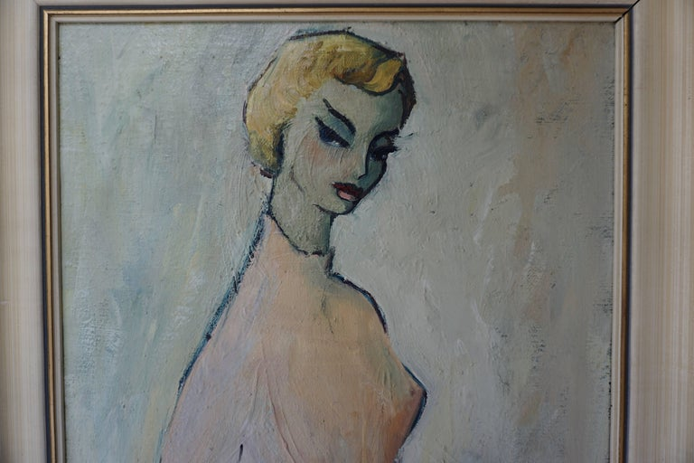 Painting of a Woman by a Van Leemput In Good Condition For Sale In Antwerp, BE