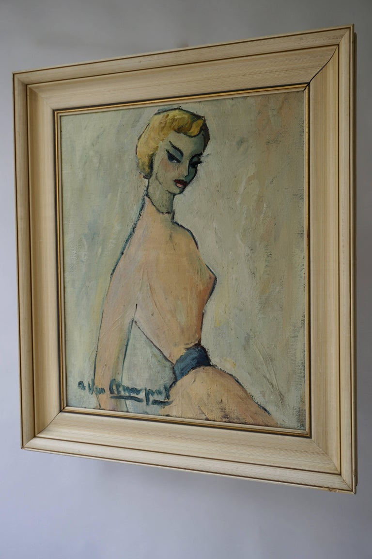 20th Century Painting of a Woman by a Van Leemput For Sale