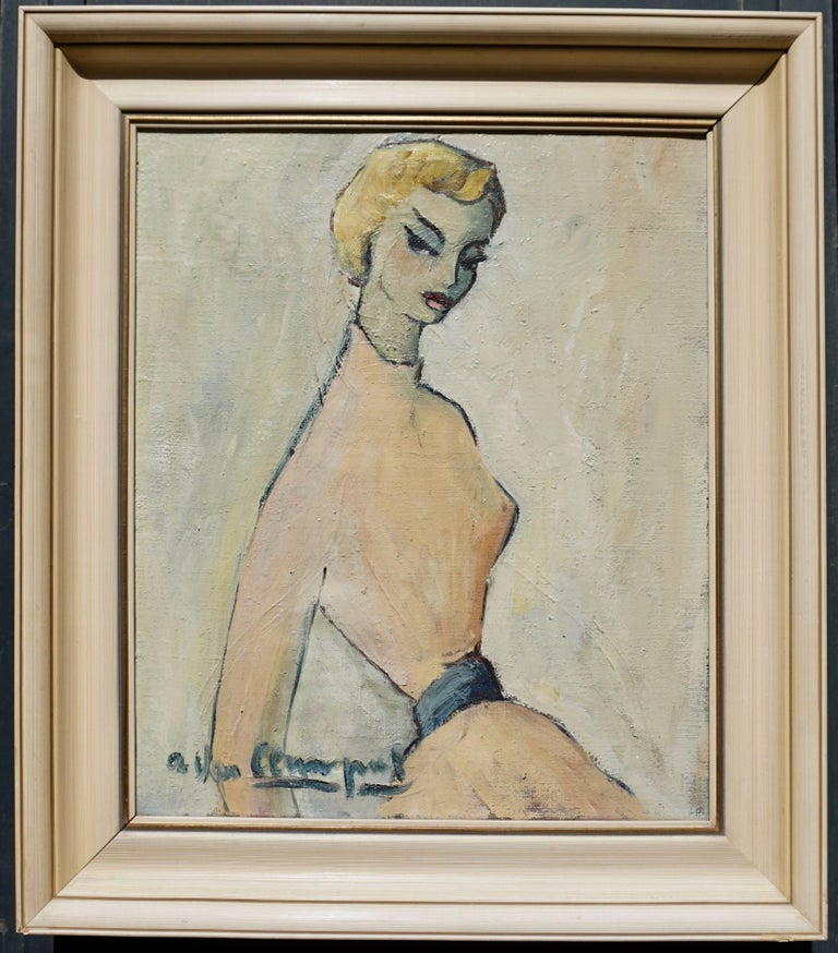 Canvas Painting of a Woman by a Van Leemput For Sale