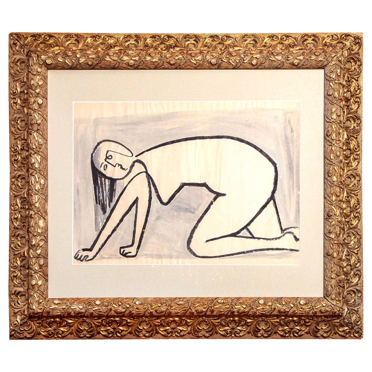 Painting of a Woman, Mid-Century, Black and White, Modern Art, circa 1950