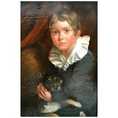 Painting of a Young Boy with His Dog