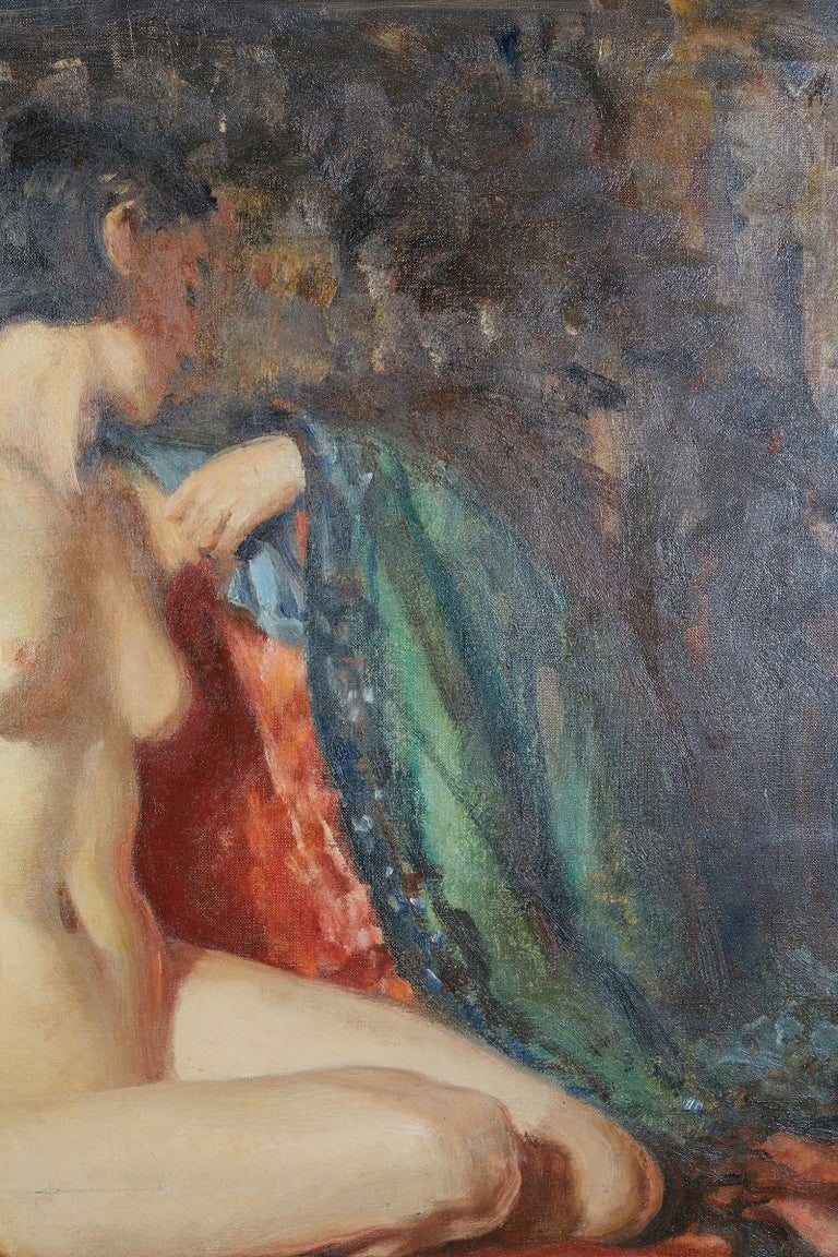 Mid-20th Century Painting of an Appeasing Nude by Adam Sherriff Scott For Sale