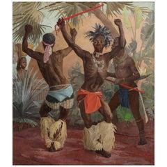 Painting of Black Men Zulu Dancers by Winifred Elizabeth Beatrice Hardman