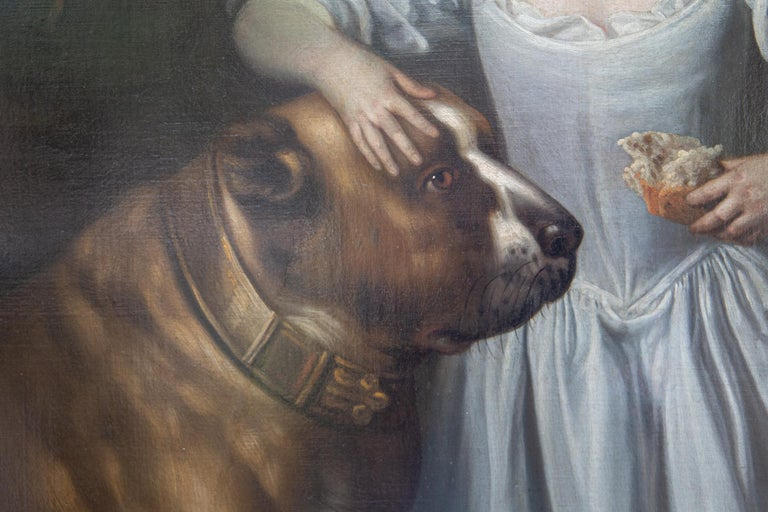 Painting of Boy and Mastiff, Circle of Thomas Hudson, Oil on Canvas, circa 1750 For Sale 4
