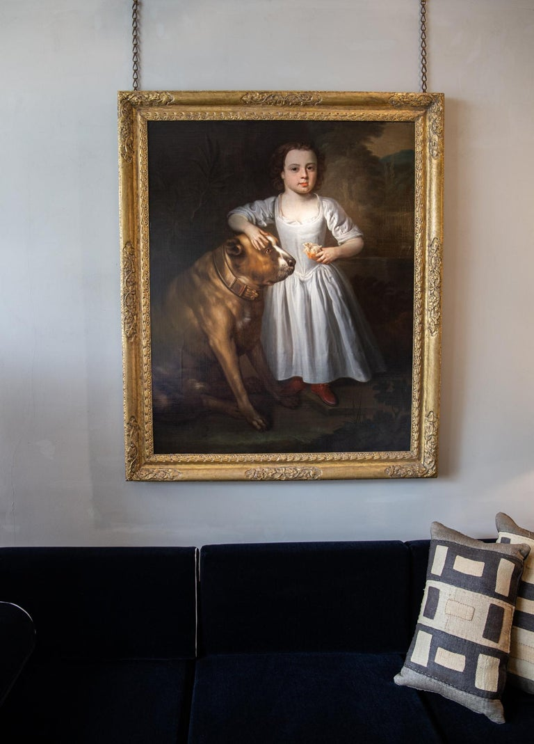 Oiled Painting of Boy and Mastiff, Circle of Thomas Hudson, Oil on Canvas, circa 1750 For Sale