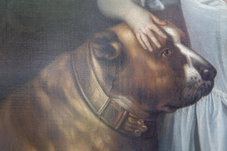 18th Century Painting of Boy and Mastiff, Circle of Thomas Hudson, Oil on Canvas, circa 1750 For Sale