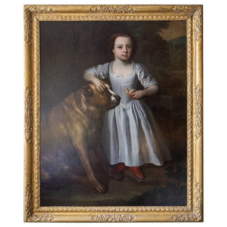 Painting of Boy and Mastiff, Circle of Thomas Hudson, Oil on Canvas, circa 1750 For Sale