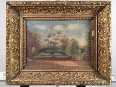 Painting Of Church Wall And Garden, French 19th C.