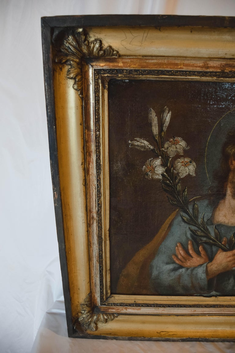 Hand-Painted Painting of Jesus, Oil on Canvas For Sale