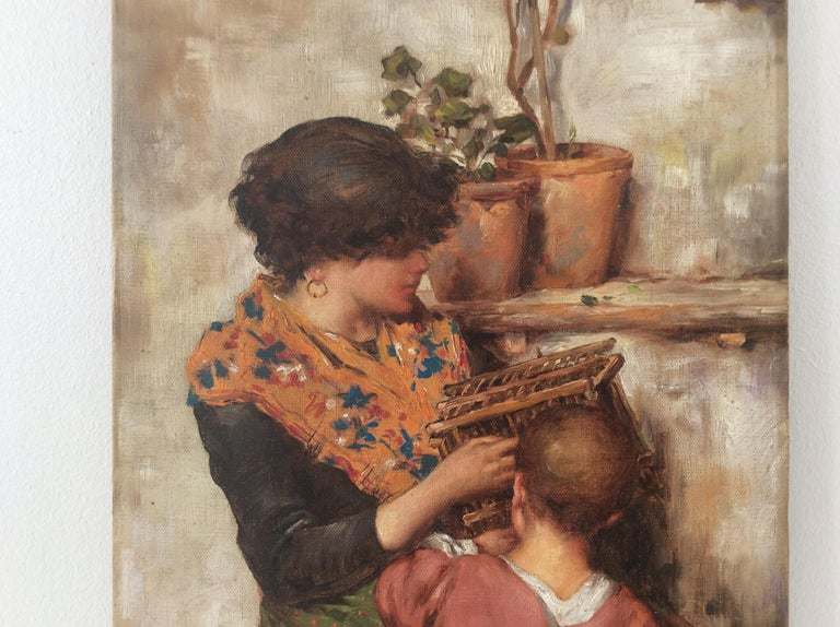 Hand-Painted Painting of Mother and Child For Sale
