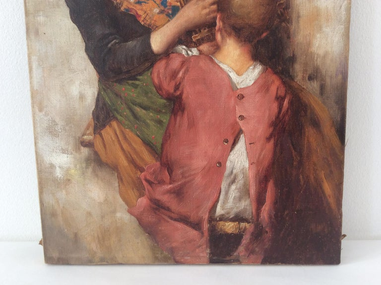 Canvas Painting of Mother and Child For Sale