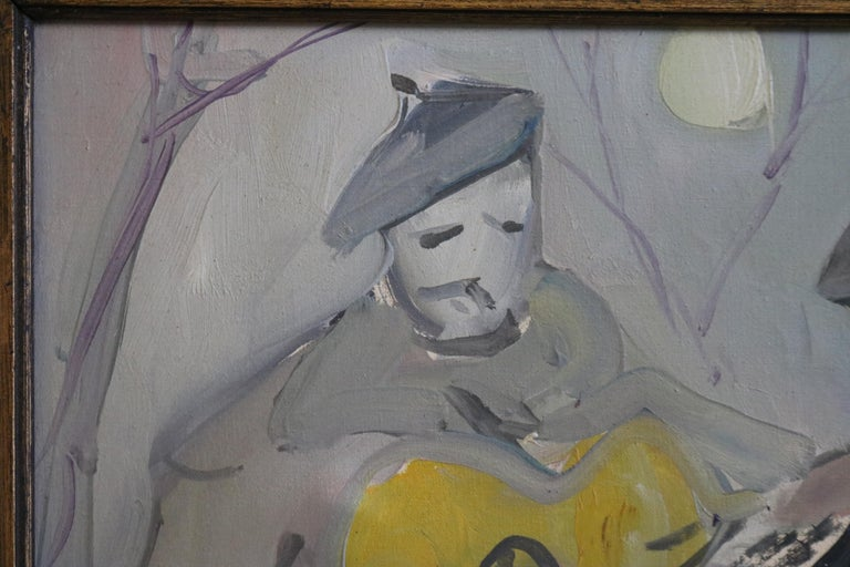 Mid-Century Modern Painting of Musicians in Moonlight For Sale