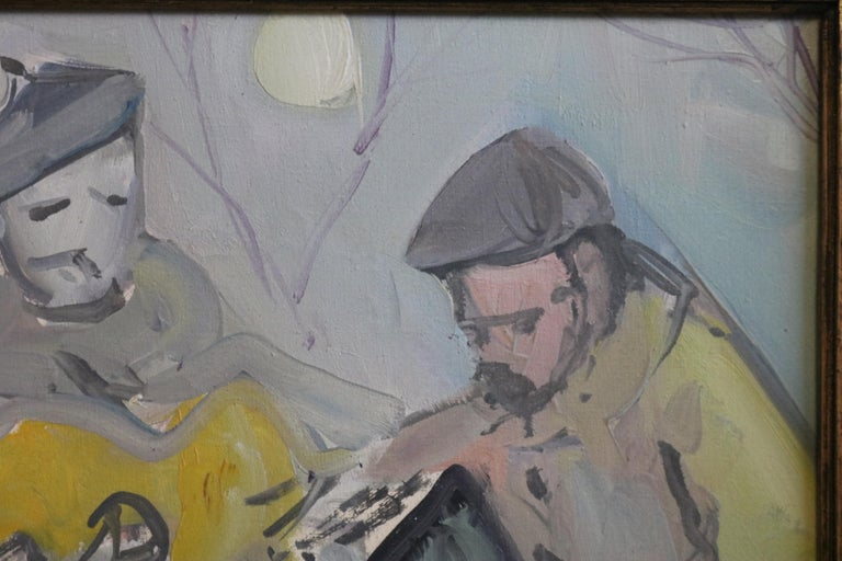French Painting of Musicians in Moonlight For Sale