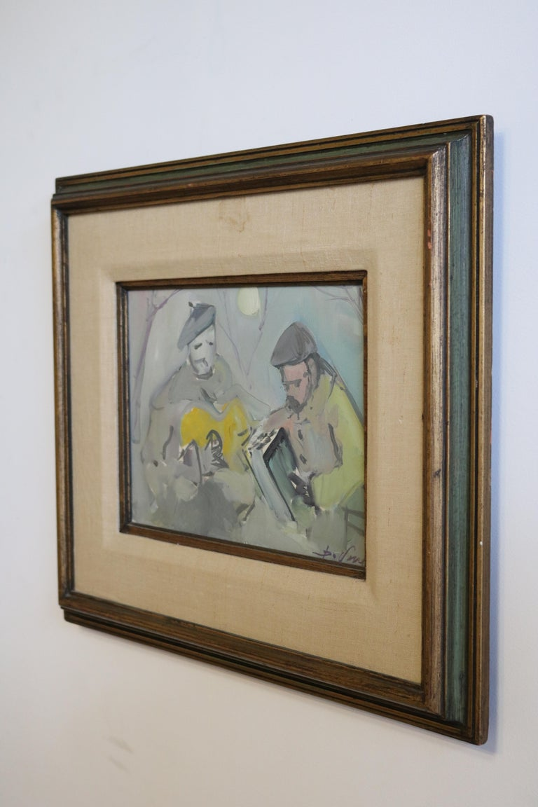 Mid-20th Century Painting of Musicians in Moonlight For Sale