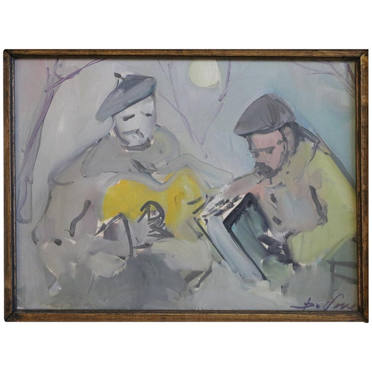 Painting of Musicians in Moonlight For Sale