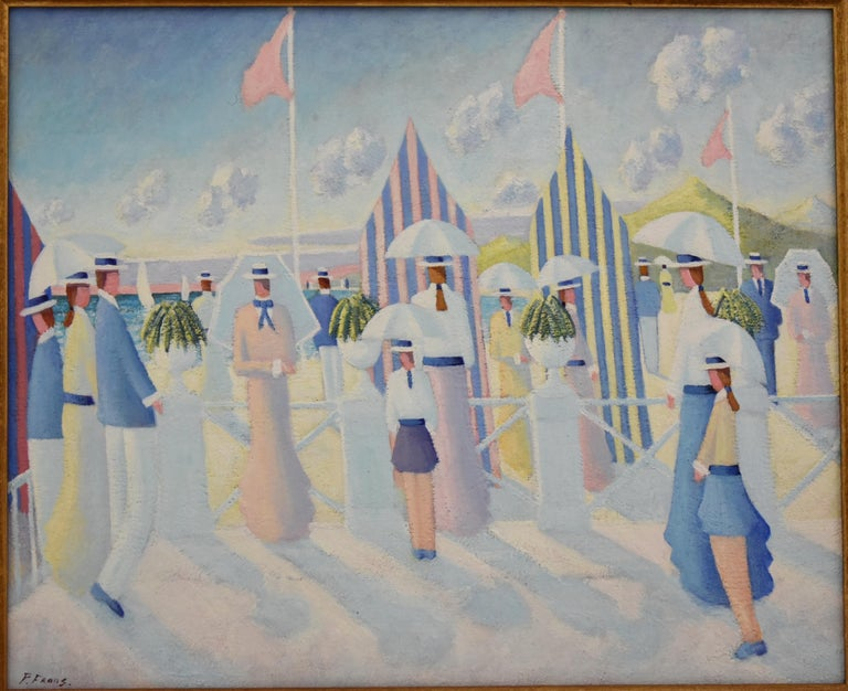 Painting of people walking on the beach promenade at the French coast.