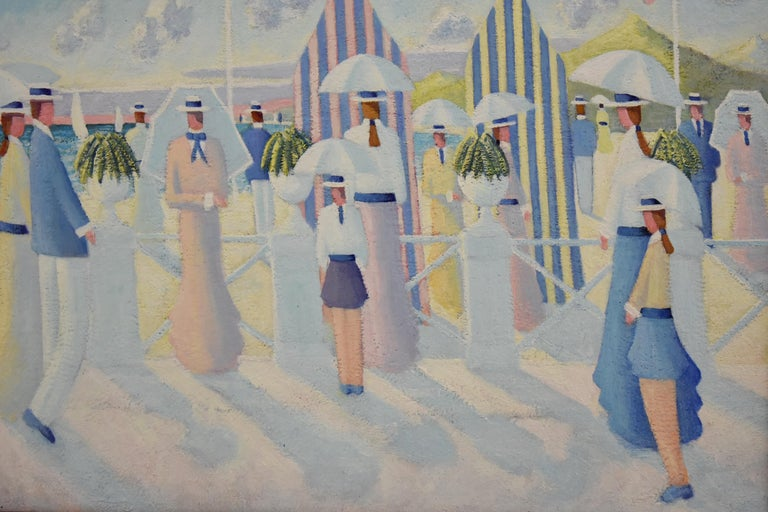 Mid-Century Modern Painting of People on the Beach Promenade Deauville France by Paul Frans For Sale