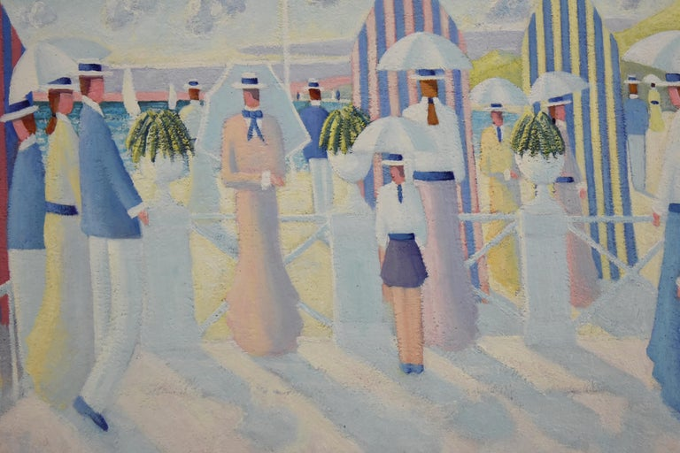 Belgian Painting of People on the Beach Promenade Deauville France by Paul Frans For Sale