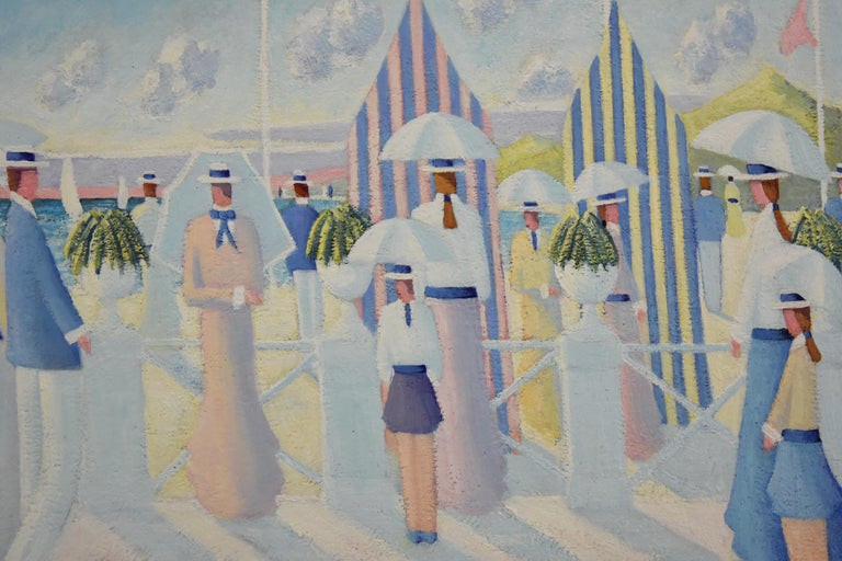 Painting of People on the Beach Promenade Deauville France by Paul Frans In Good Condition For Sale In Antwerp, BE