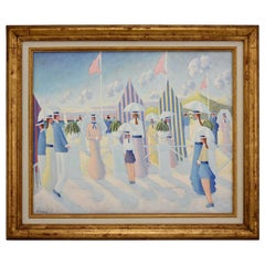 Painting of People on the Beach Promenade Deauville France by Paul Frans