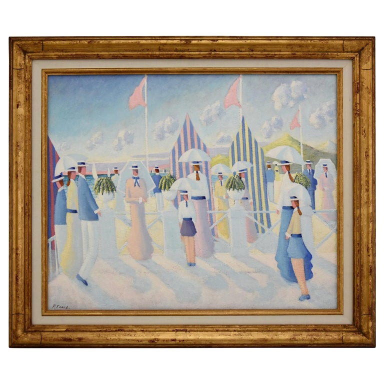 Painting of People on the Beach Promenade Deauville France by Paul Frans For Sale