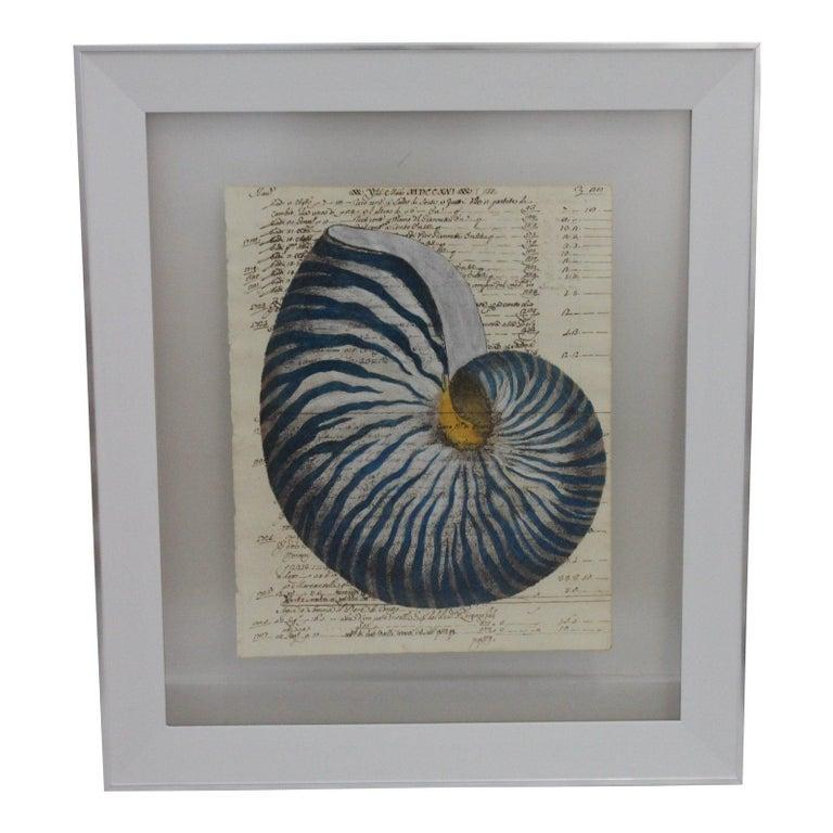 Painting of Red Nautilus on Manuscript Paper For Sale 6