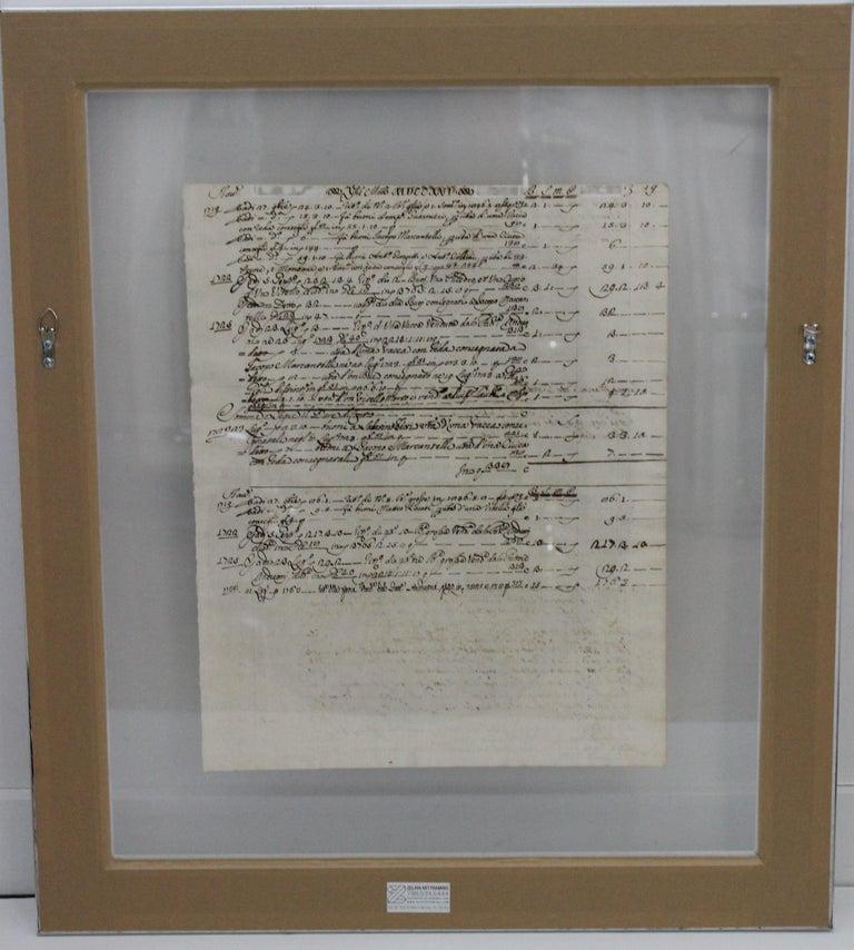 Romantic Painting of Red Nautilus on Manuscript Paper For Sale